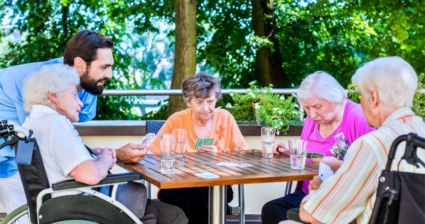people playing card game